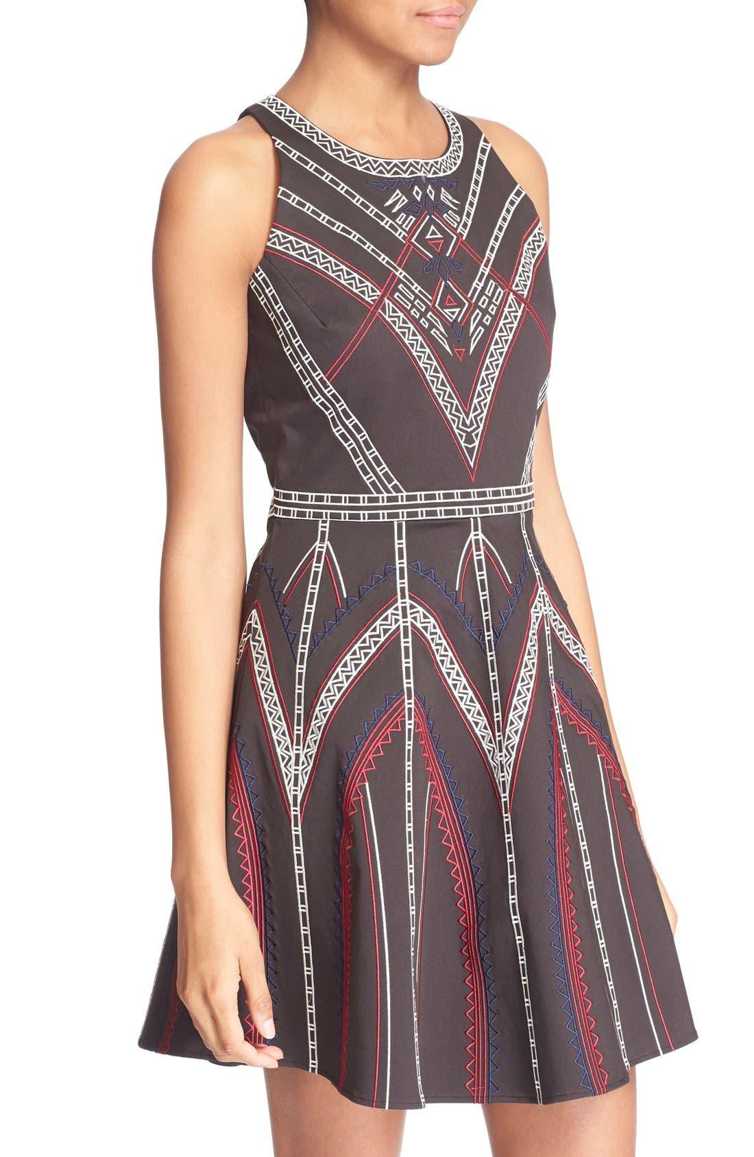 ,                             'Garnet' Embroidered Fit & Flare Dress,                             Alternate thumbnail 2, color,                             001