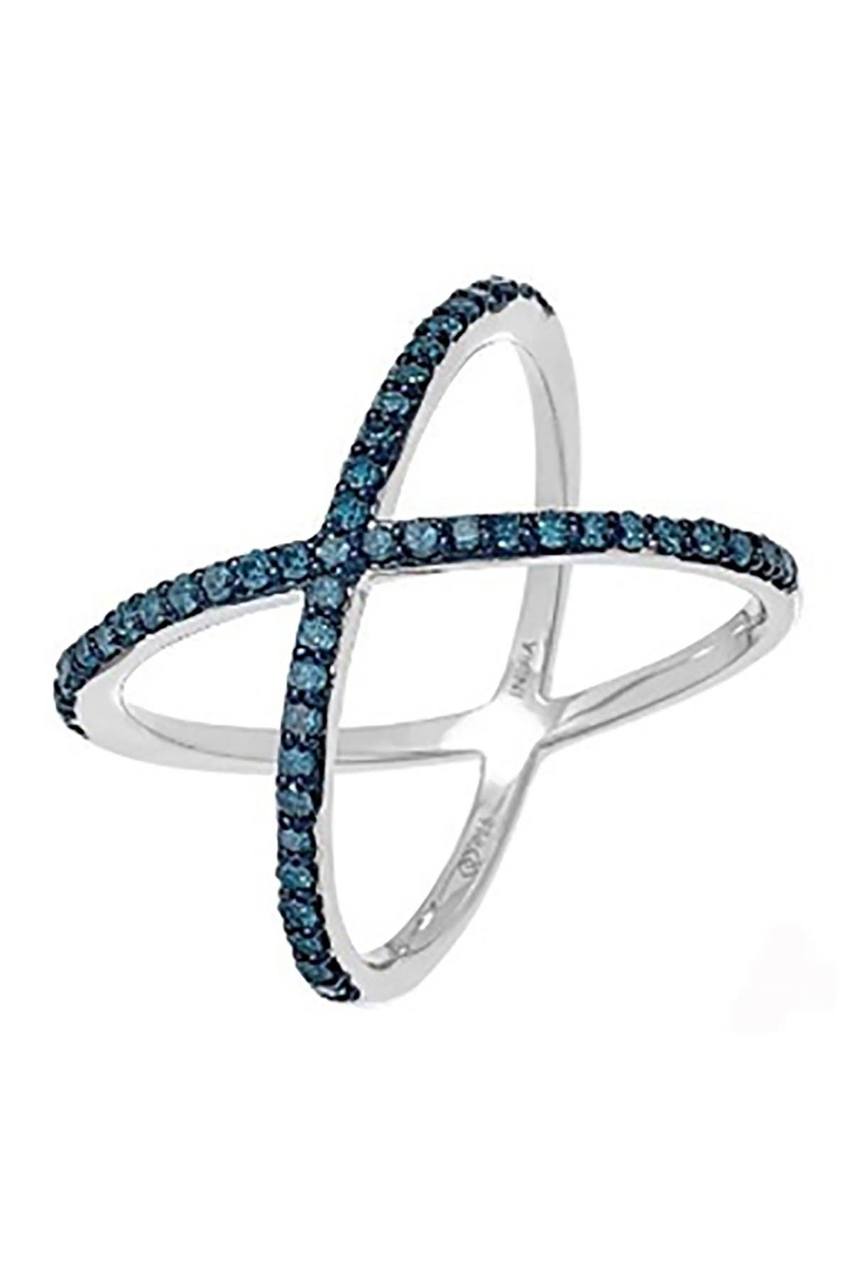 Image of Savvy Cie Sterling Silver Diamond Crossover Ring -  0.50 ctw