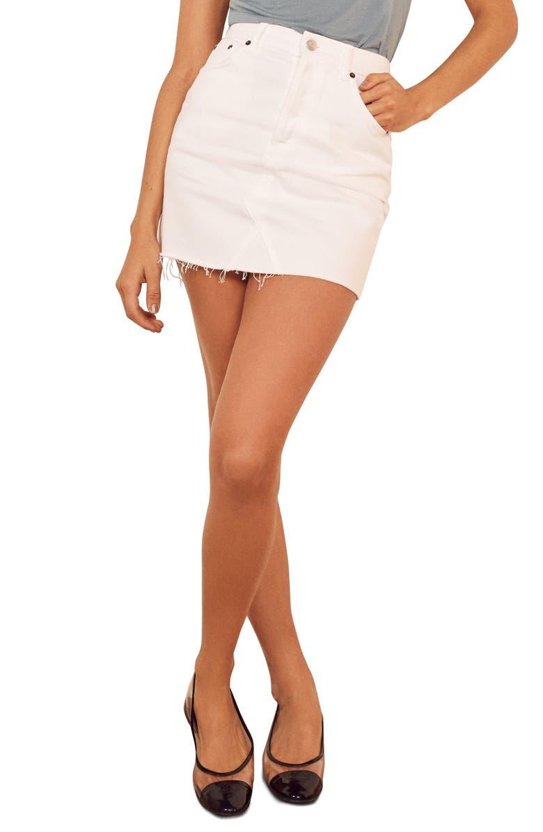 REFORMATION Cherry Denim Miniskirt, Main, color, 100