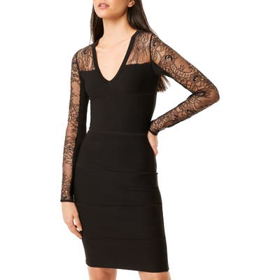 French Connection Odelia Lace Tobey Long Sleeve Sweater Dress, Black