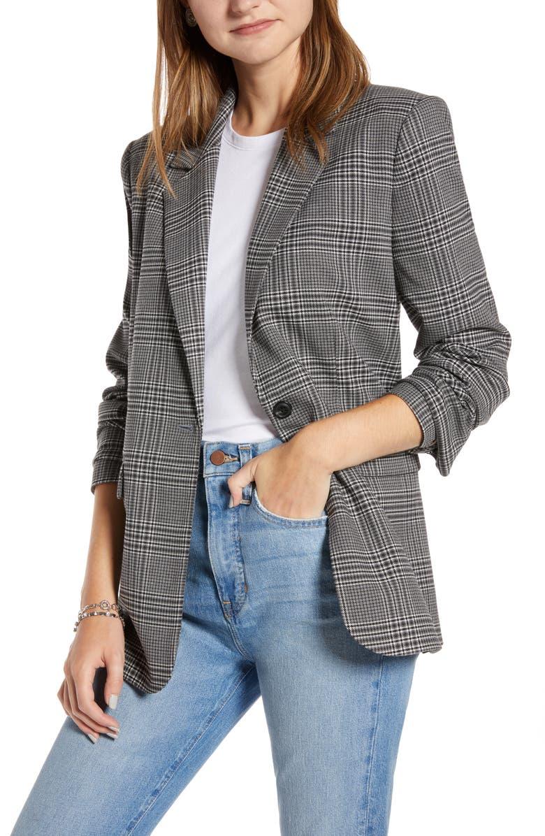 SOMETHING NAVY Menswear Jacket, Main, color, GREY STEEL KATE PLAID