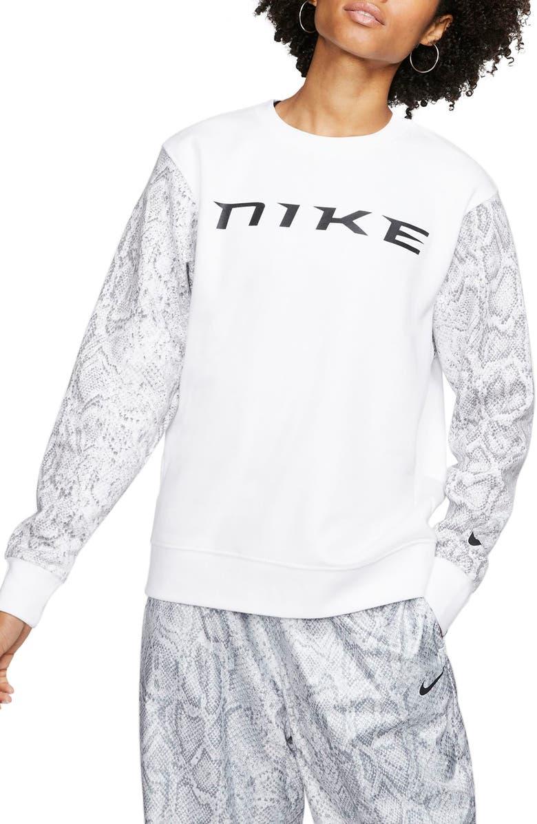 NIKE Sportswear Logo Python Print Sweatshirt, Main, color, WHITE