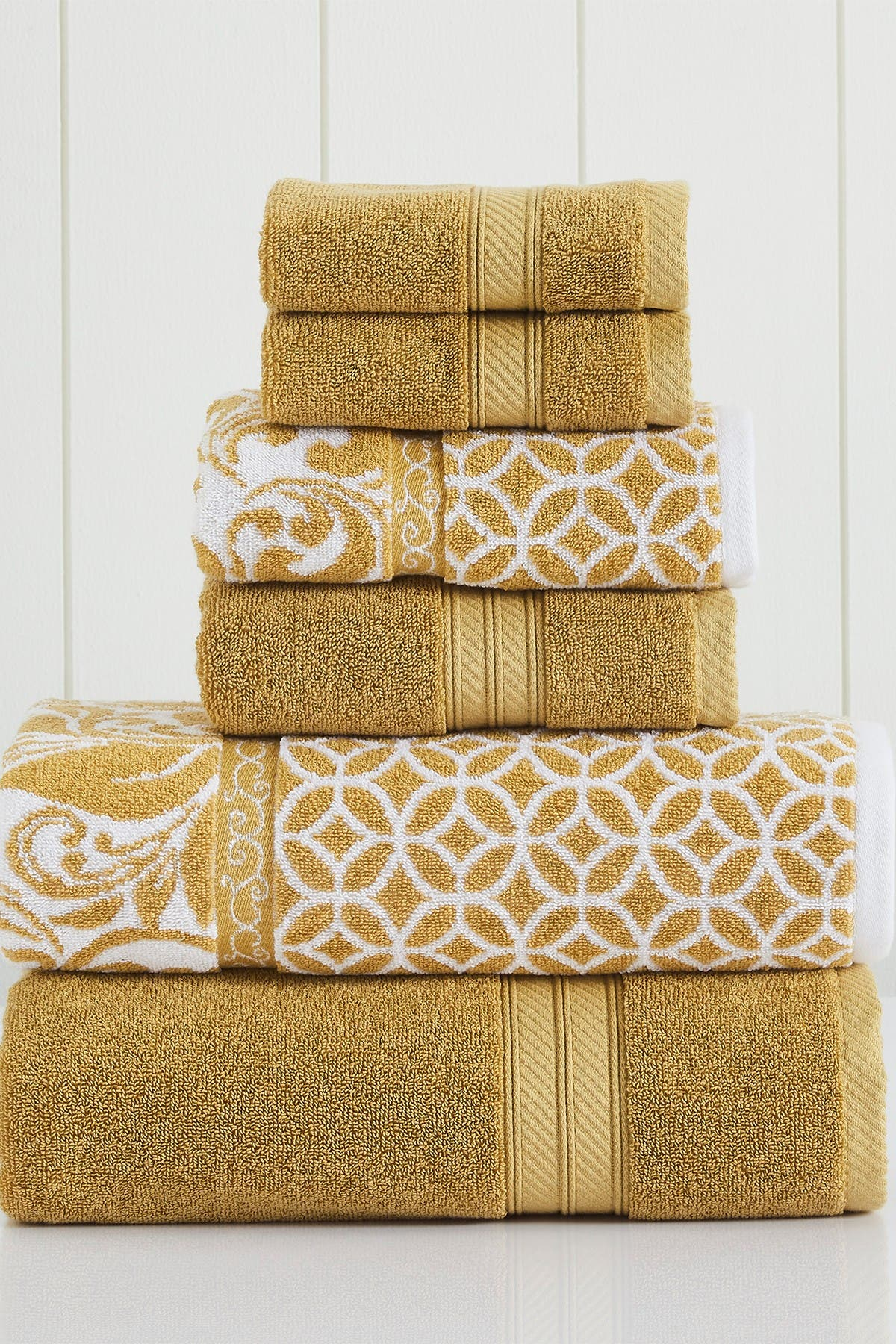 Image of Modern Threads Gold Trefoil Filigree Reversible Yarn-Dyed Jacquard 6-Piece Towel Set