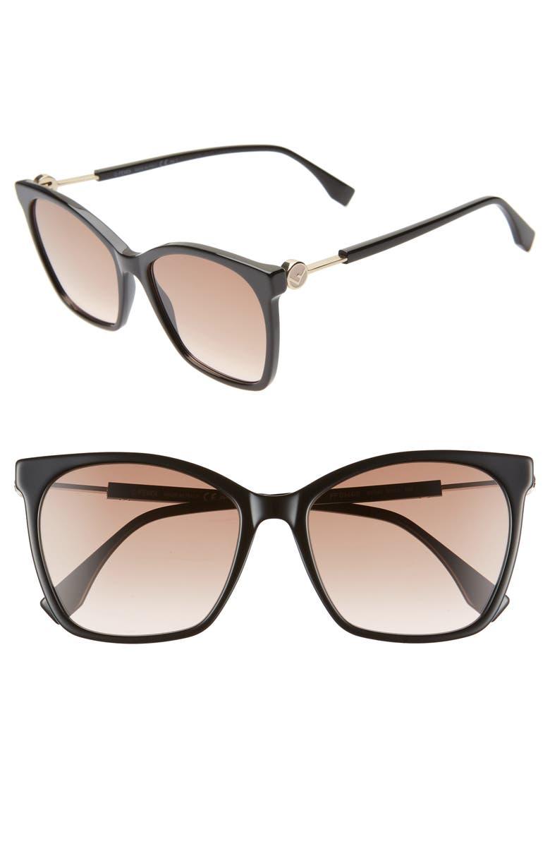 FENDI 57mm Gradient Square Sunglasses, Main, color, BLACK