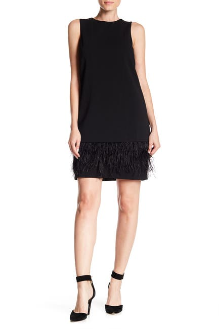 Image of Calvin Klein Feather Bottom Shift Dress