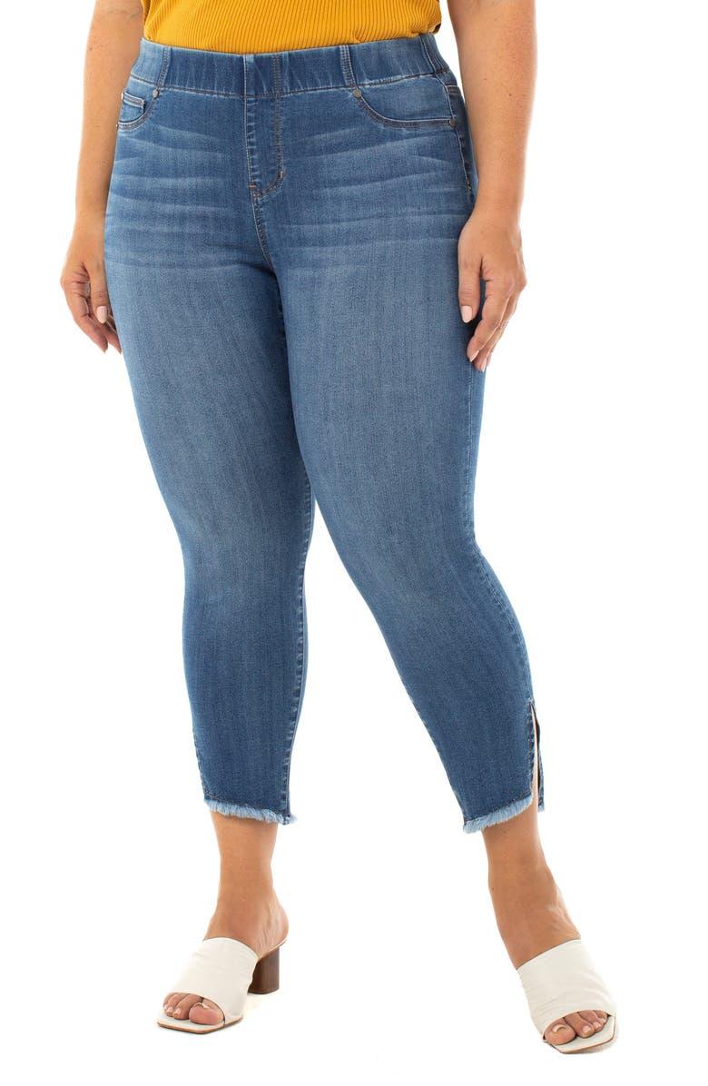 LIVERPOOL Chloe Fray Hem Side Slit Pull-On Crop Skinny Jeans, Main, color, STILLWELL