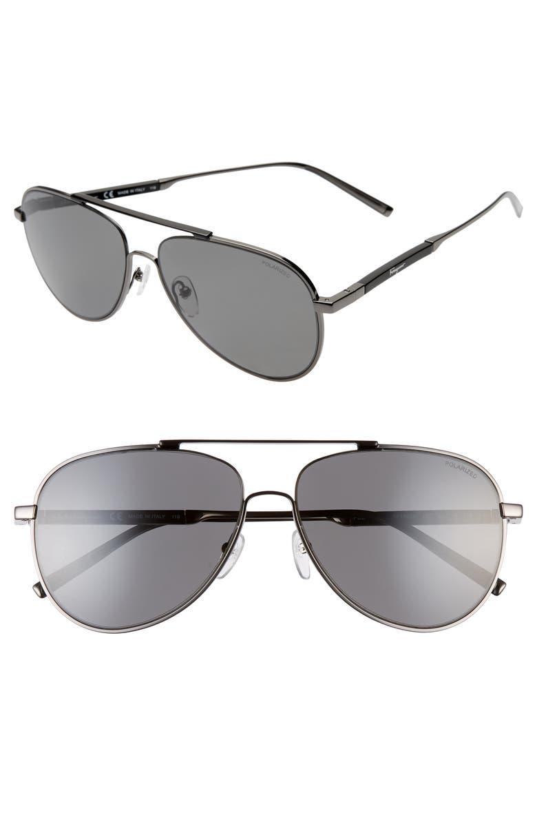 SALVATORE FERRAGAMO Classic Logo 60mm Polarized Aviator Sunglasses, Main, color, SHINY GUNMETAL