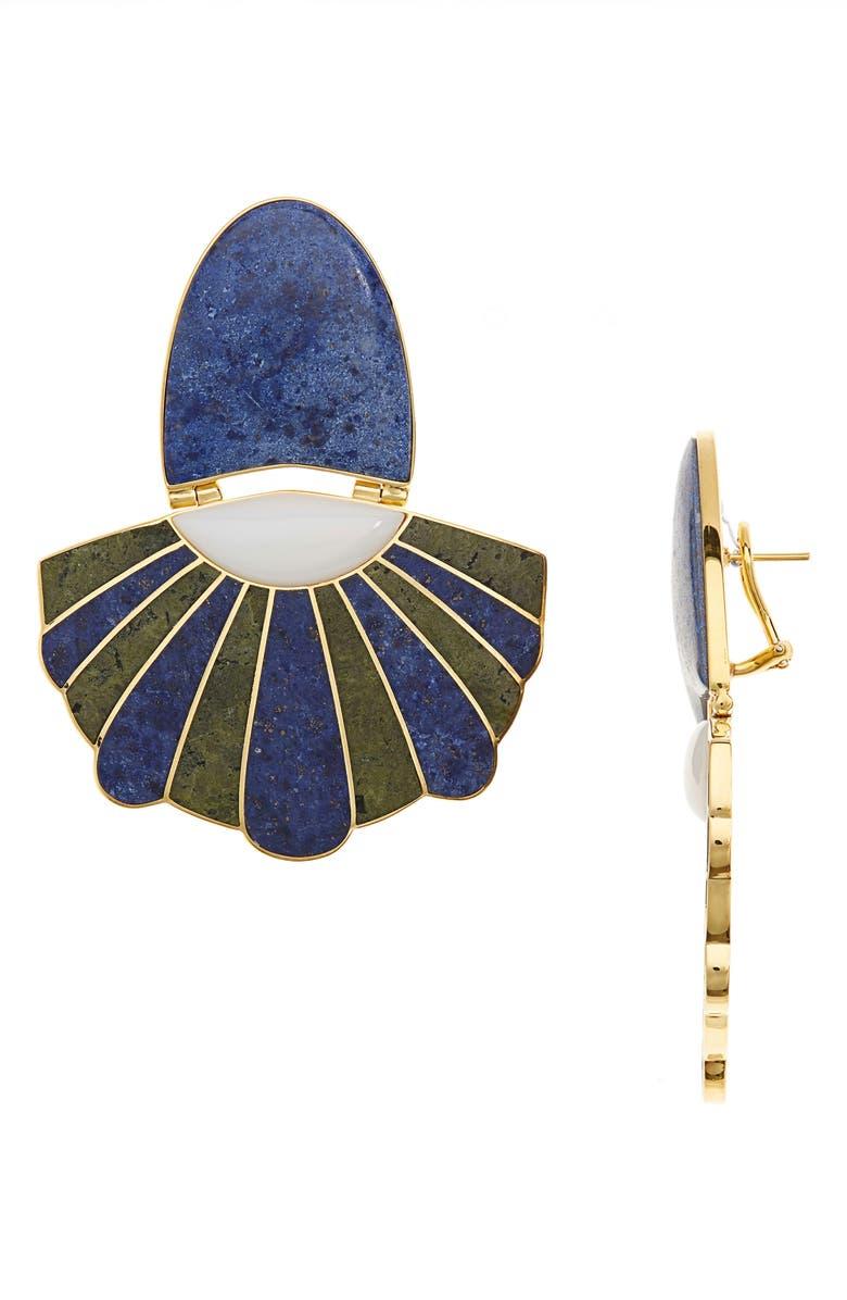 MONICA SORDO Samay Mullu Chandelier Earrings, Main, color, WHITE/ DUMORTIERITE/ UNAKITE
