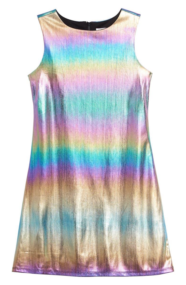 BLUSH BY US ANGELS Metallic Rainbow Stripe Sleeveless Dress, Main, color, MULTI