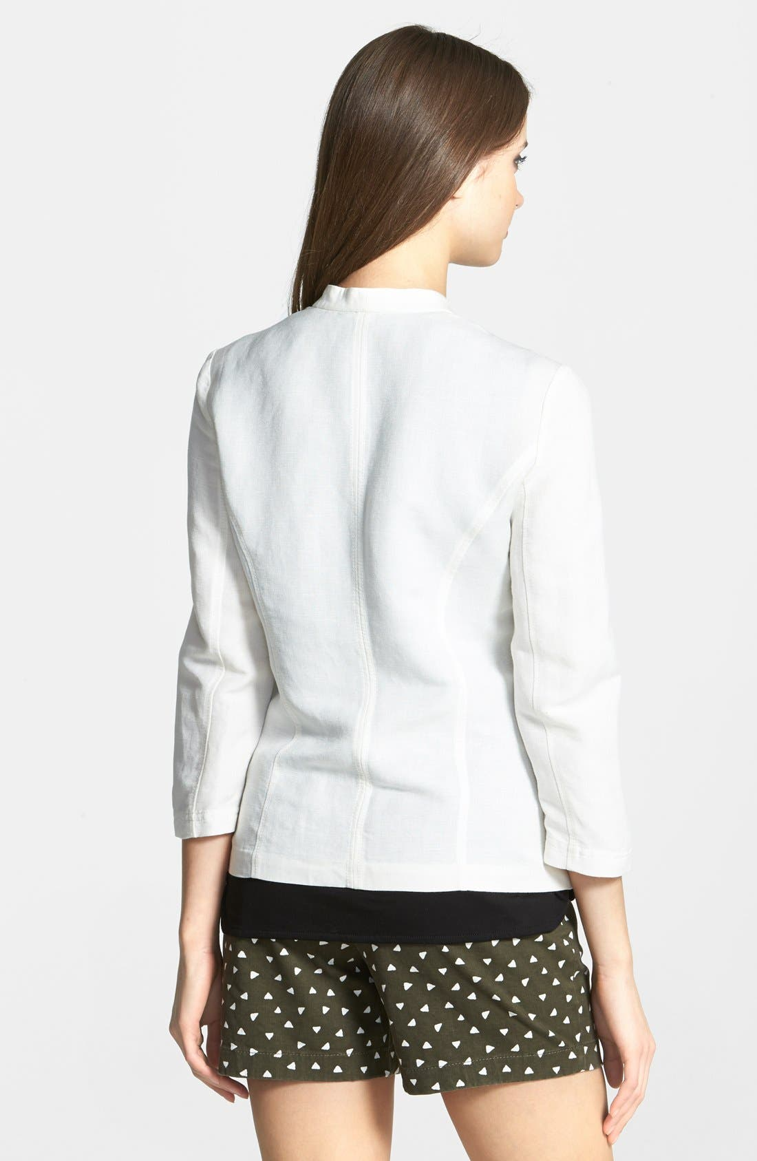,                             Linen Blend Jacket,                             Alternate thumbnail 6, color,                             100