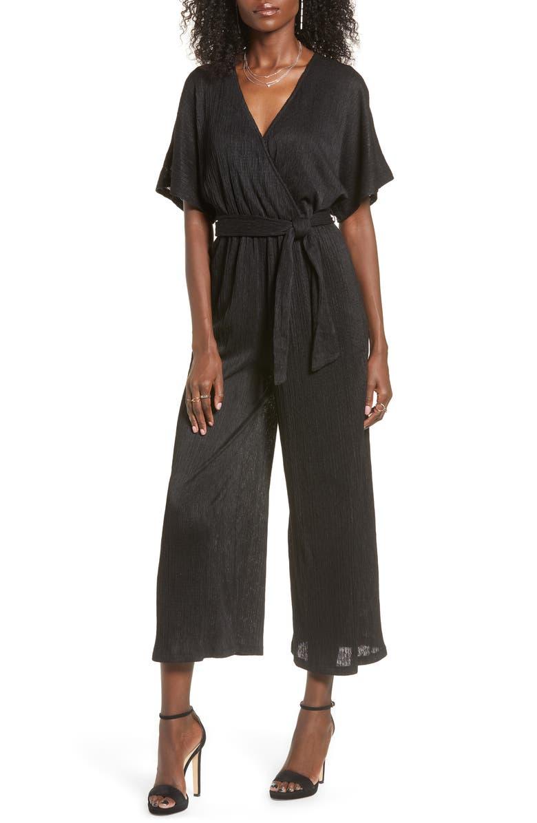 ALL IN FAVOR Wrap Front Dolman Sleeve Jumpsuit, Main, color, BLACK