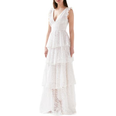 Ml Monique Lhuillier Embroidered Ruffle Tiered Evening Gown, White
