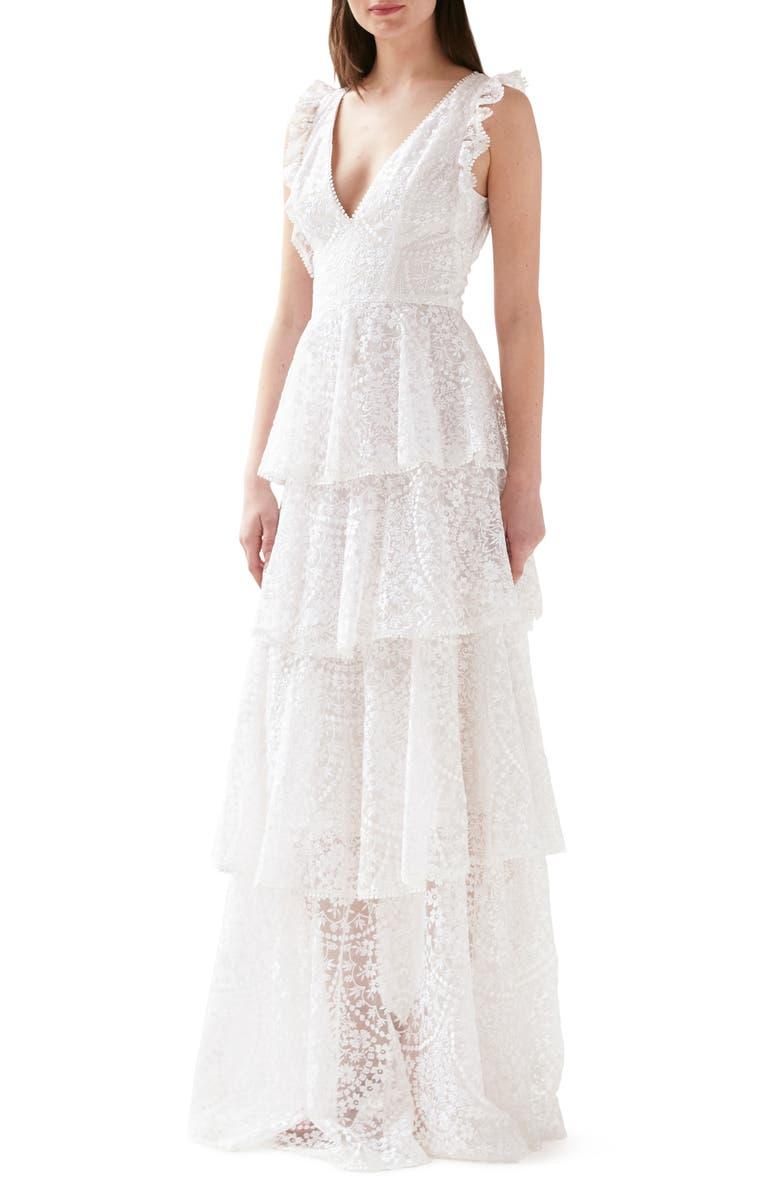 ML MONIQUE LHUILLIER Embroidered Ruffle Tiered Evening Gown, Main, color, 100