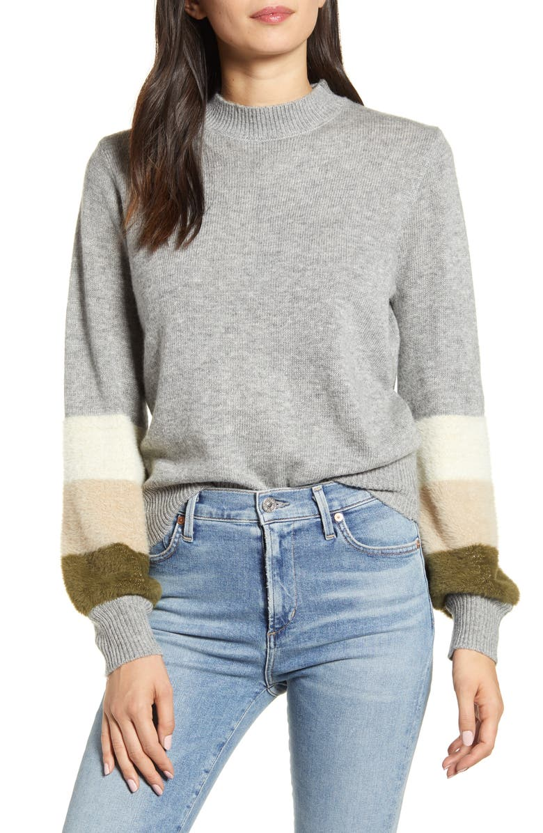 CUPCAKES AND CASHMERE Drew Stripe Sweater, Main, color, HEATHER GREY