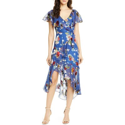 Alice + Olivia Electra Asymmetrical Ruffle Chiffon Dress, Blue