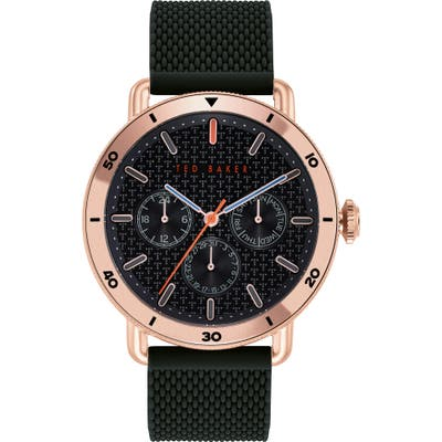 Ted Baker London Margarit Multifunction Silicone Strap Watch, 4m