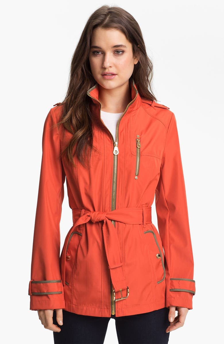 MICHAEL MICHAEL KORS Zip Front Softshell Jacket, Main, color, 800