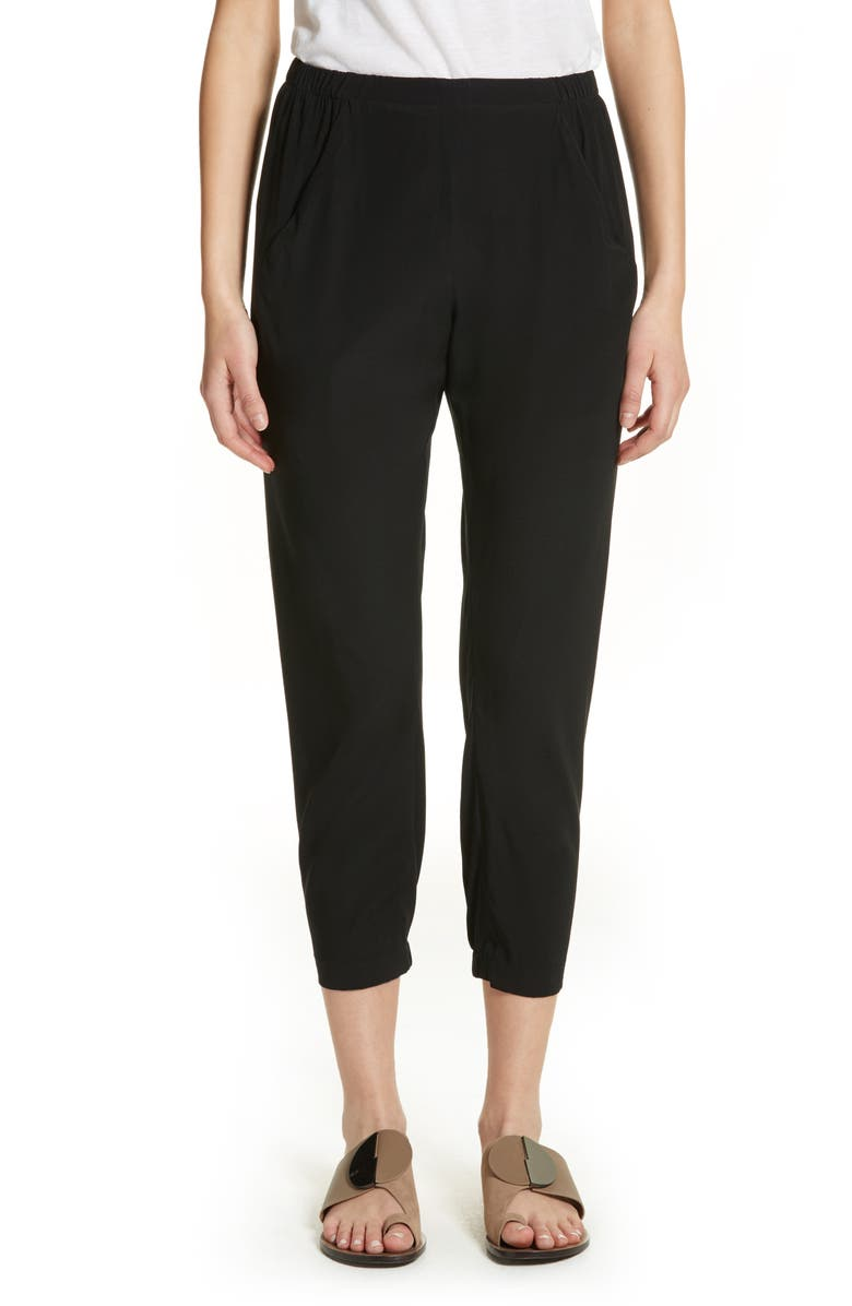 ZERO + MARIA CORNEJO Gabi Drape Silk Blend Pants, Main, color, BLACK