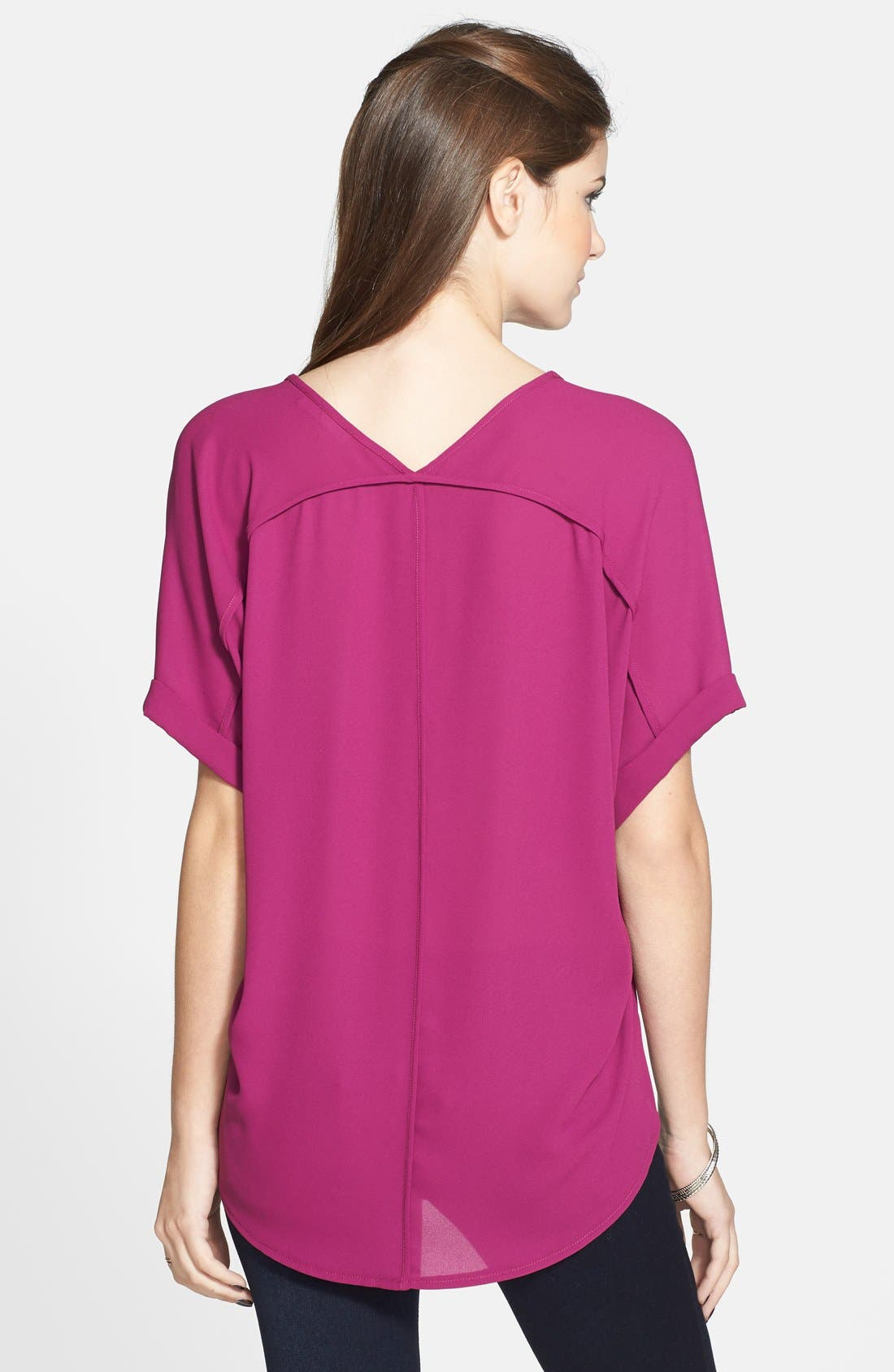,                             Lush Cuff Sleeve Woven Tee,                             Alternate thumbnail 129, color,                             501