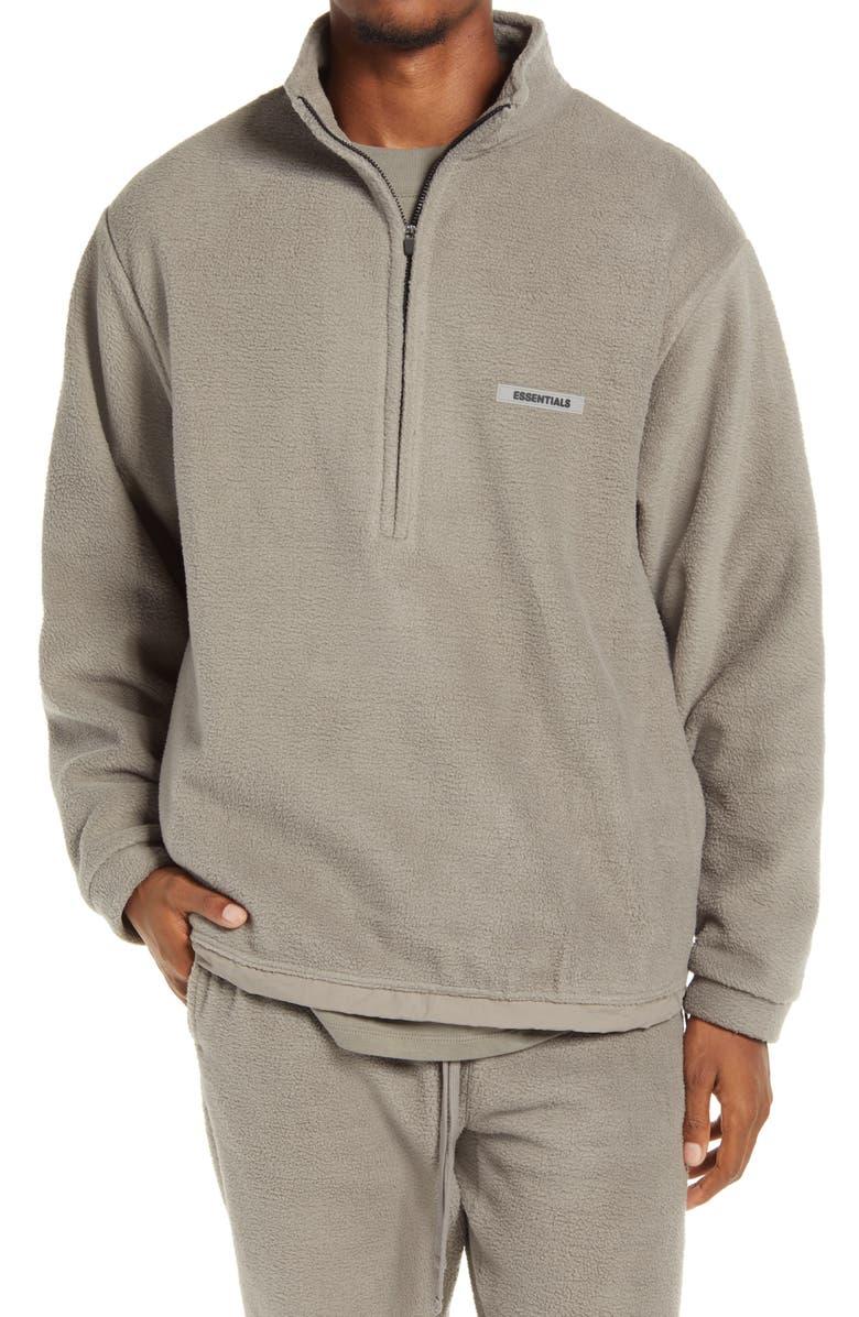 FEAR OF GOD ESSENTIALS Half Zip Fleece Pullover, Main, color, 020