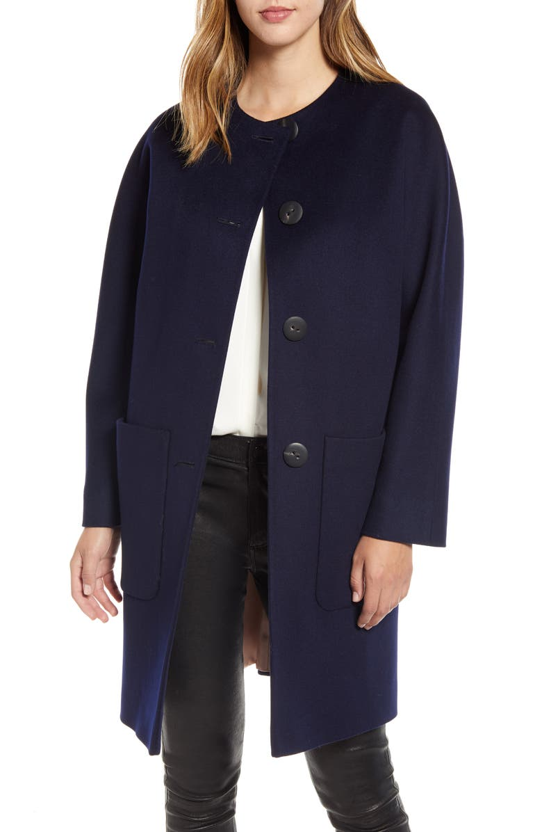 FLEURETTE Collarless Wool Car Coat, Main, color, MIDNIGHT