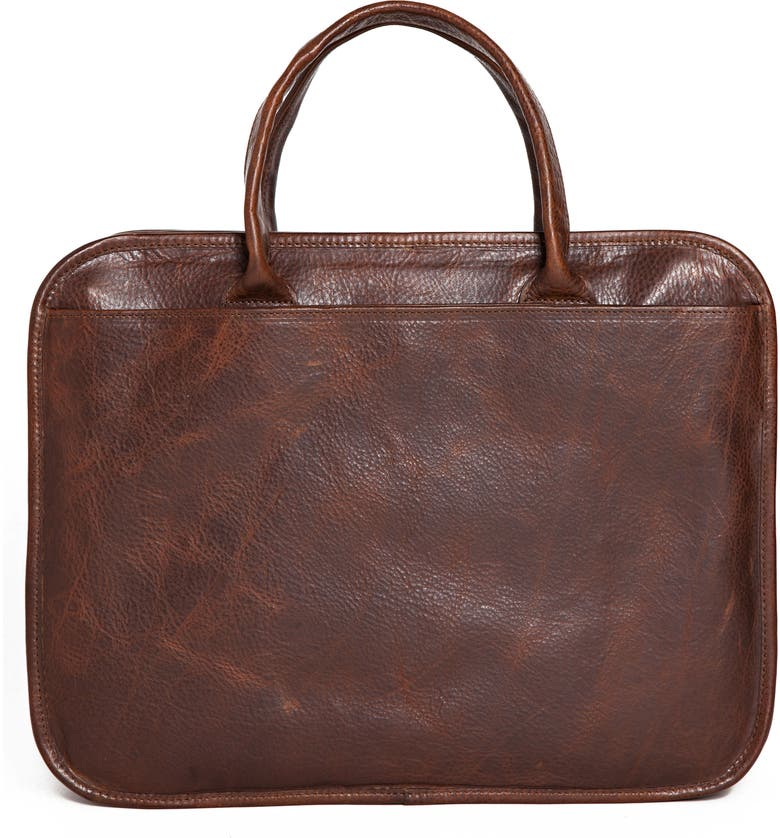 MOORE & GILES Miller Leather Briefcase, Main, color, TITAN MILLED BROWN