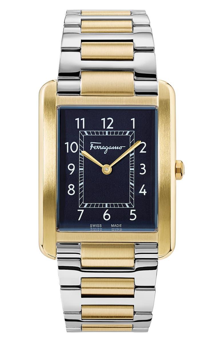 SALVATORE FERRAGAMO Portrait Two-Tone Bracelet Watch, 31mm x 41mm, Main, color, GOLD/ SILVER/ BLUE/