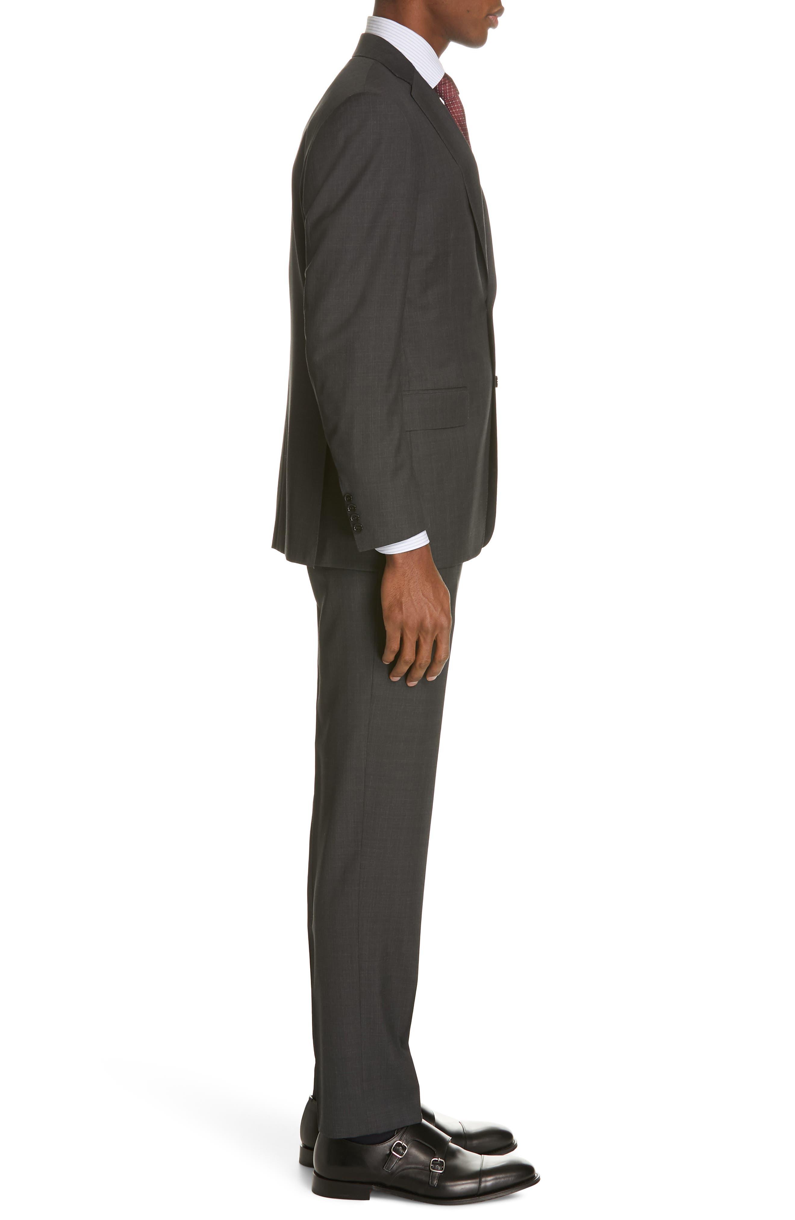 ,                             Siena Classic Fit Solid Super 130s Wool Suit,                             Alternate thumbnail 3, color,                             BLACK