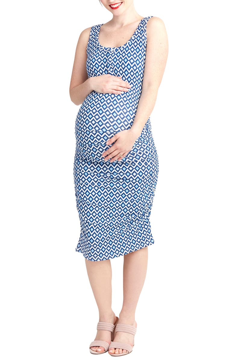 NOM MATERNITY Sleeveless Maternity/Nursing Dress, Main, color, BLUE GEO