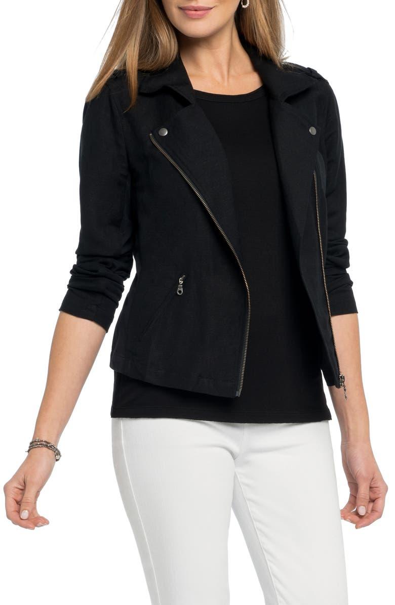 NIC+ZOE Linen Blend Biker Jacket, Main, color, BLACK ONYX