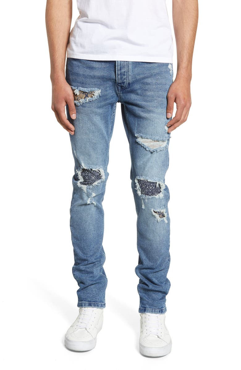 TOPMAN Ripped Skinny Fit Jeans, Main, color, 411