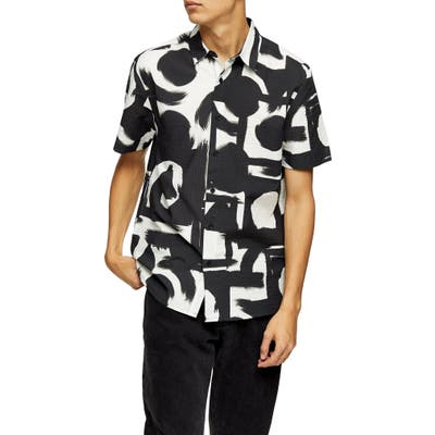 Topman Abstract Short Sleeve Seersucker Button-Up Shirt, White