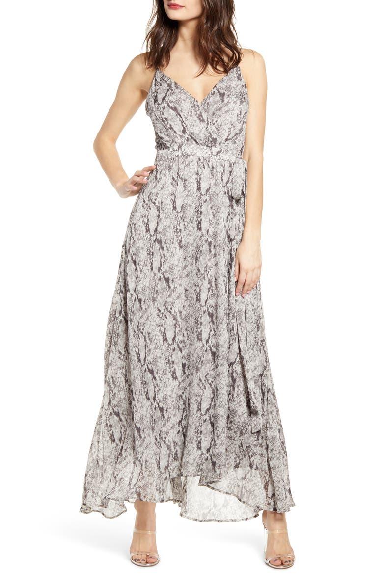 ASTR THE LABEL Snake Print Sleeveless Maxi Dress, Main, color, GREY PYTHON