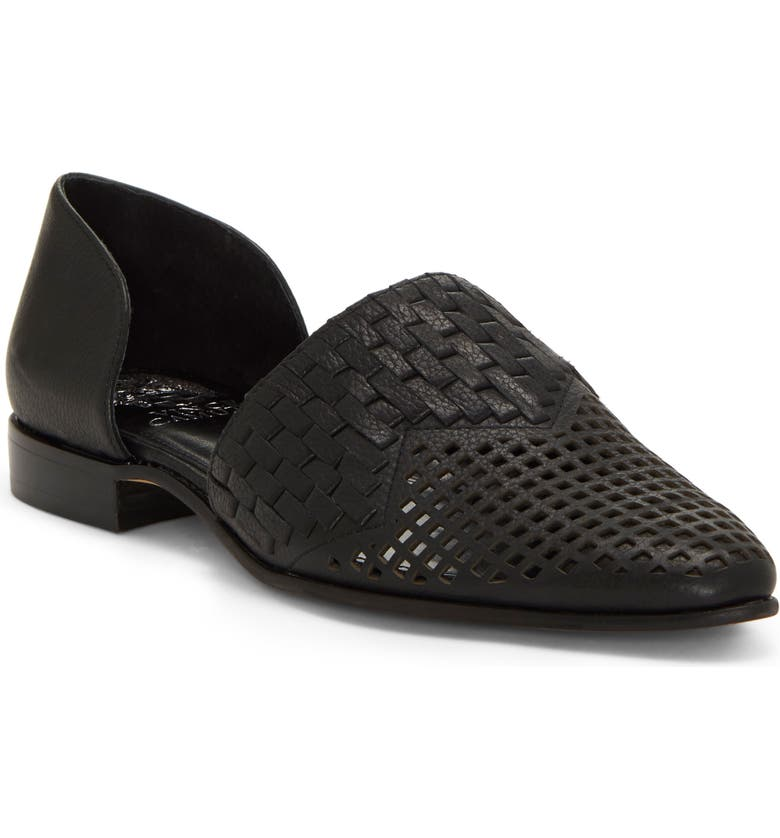 VINCE CAMUTO Reshila d'Orsay Flat, Main, color, BLACK 02 LEATHER