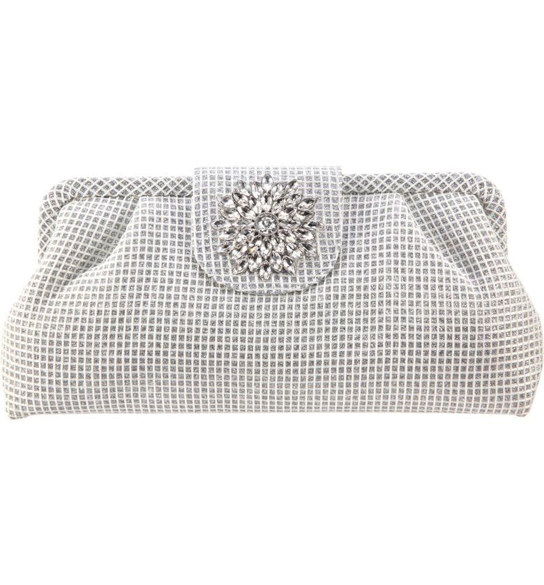 NINA Hampton Embellished Frame Clutch, Main, color, SILVER