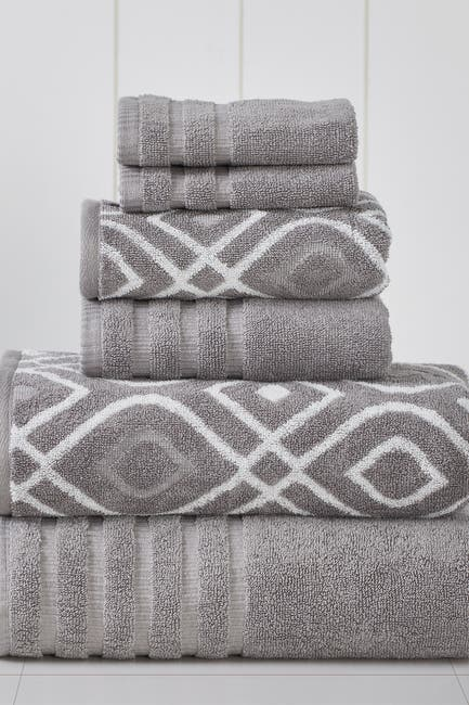 Image of Modern Threads Yard Dyed Towel 6-Piece Set - Oxford Ash Grey