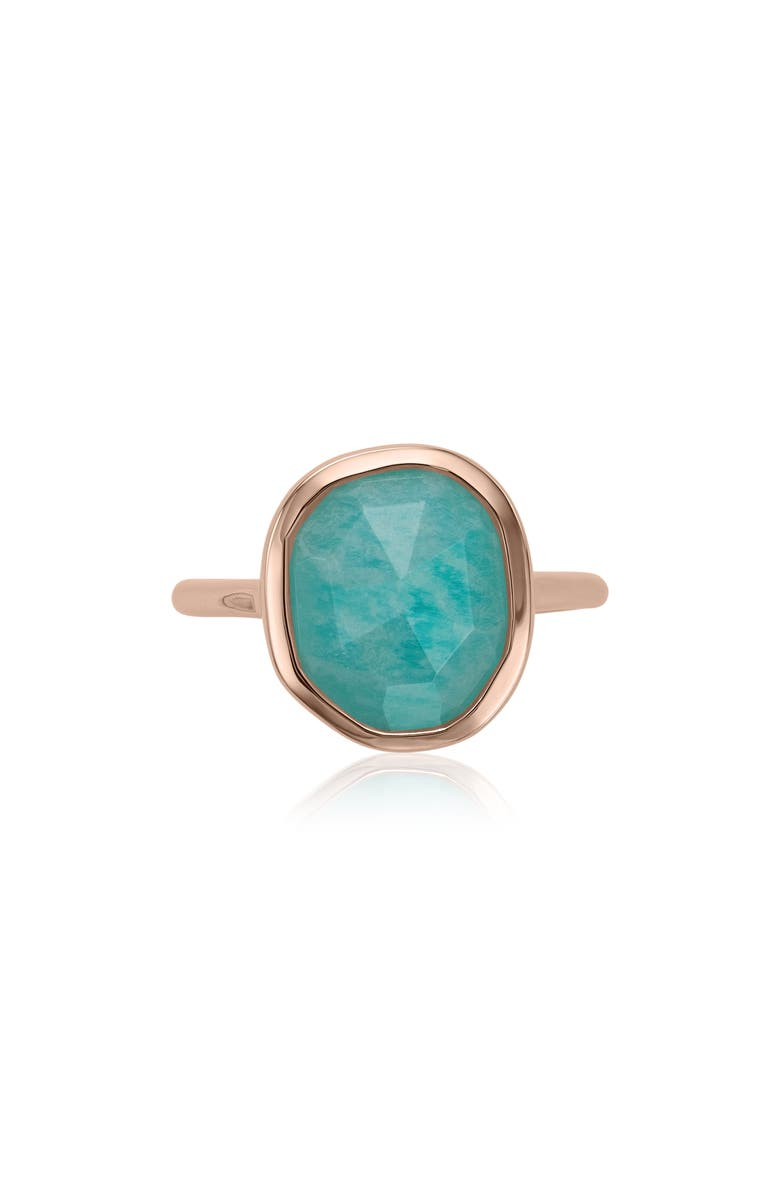 MONICA VINADER Siren Medium Semiprecious Stone Stacking Ring, Main, color, AMAZONITE/ ROSE GOLD