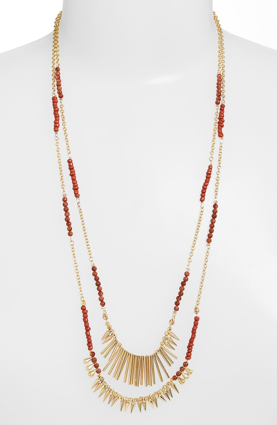 ,                             Beaded Fringed Two-Row Necklace,                             Main thumbnail 1, color,                             200