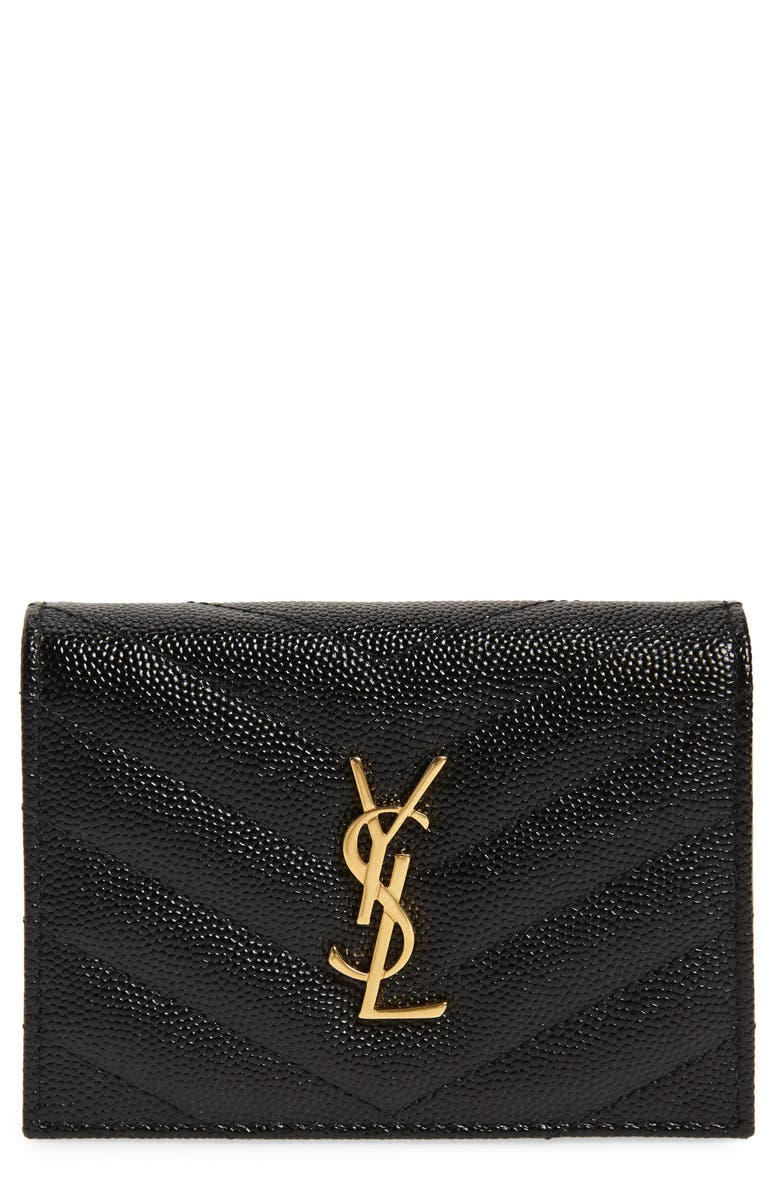 SAINT LAURENT Monogram Quilted Leather Leather Flap Card Case, Main, color, NOIR