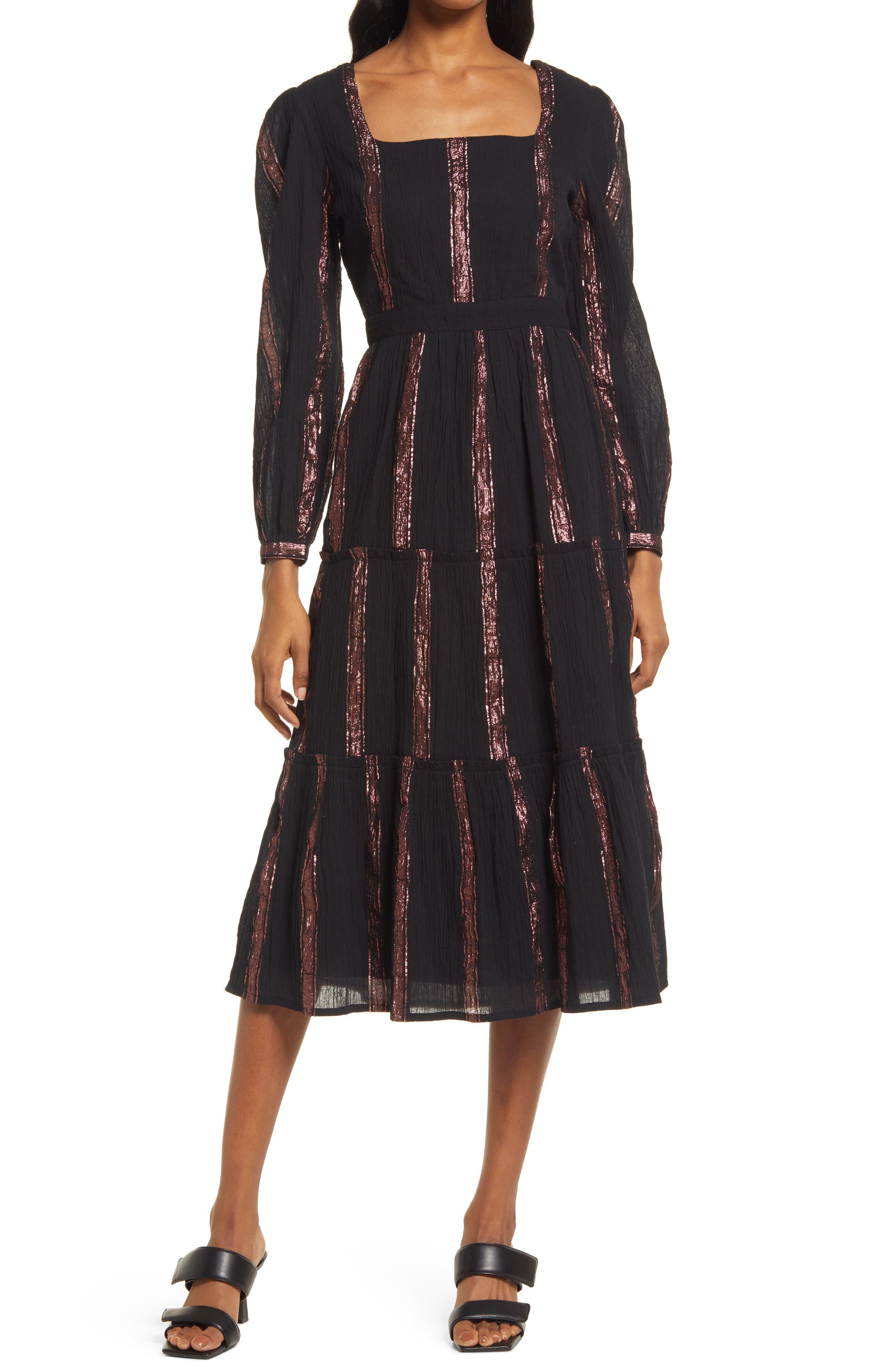 Rihana Metallic Thread Cotton Gauze Long Sleeve Babydoll Dress