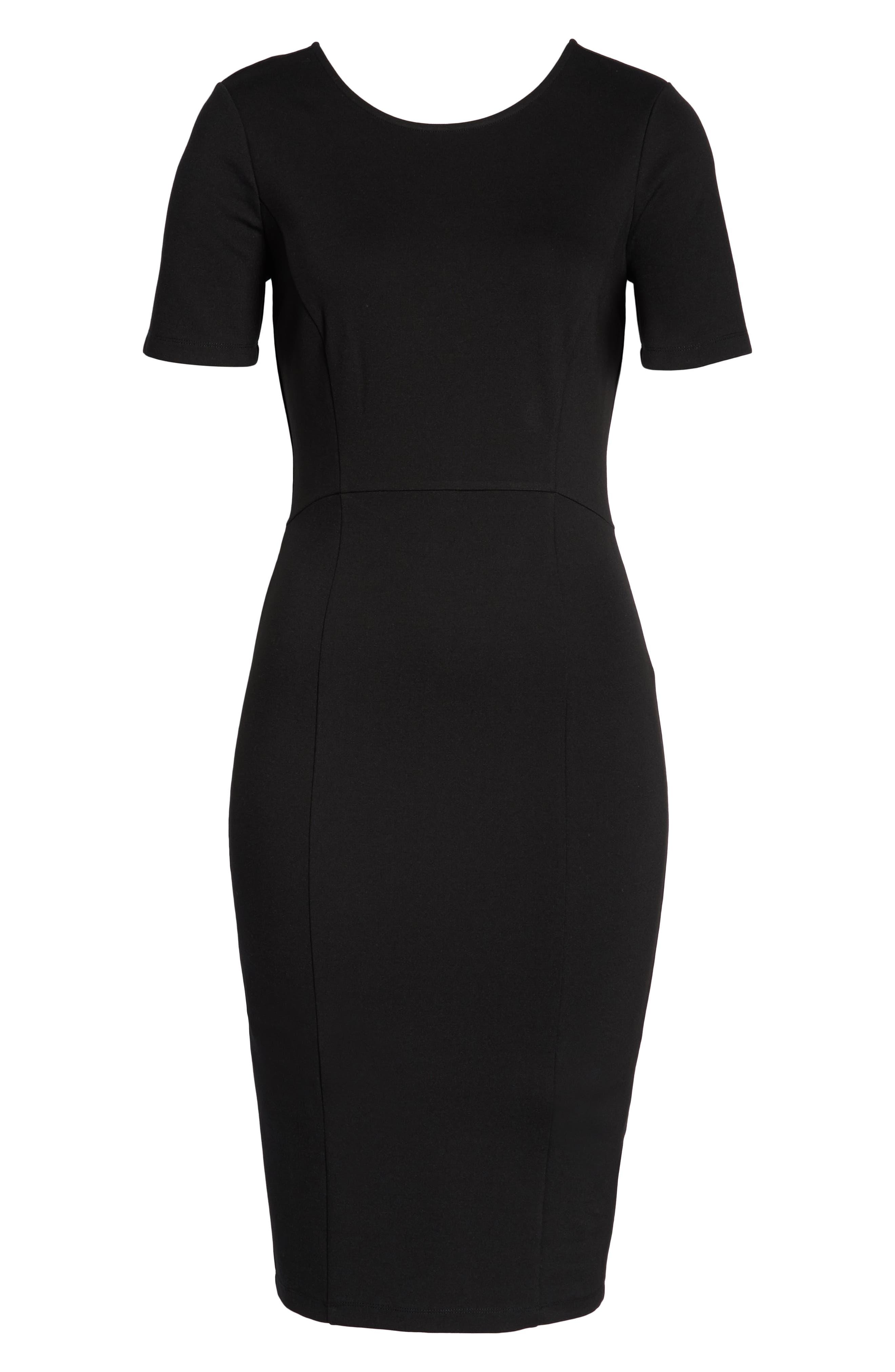 ,                             Zip Back Sheath Dress,                             Alternate thumbnail 9, color,                             BLACK