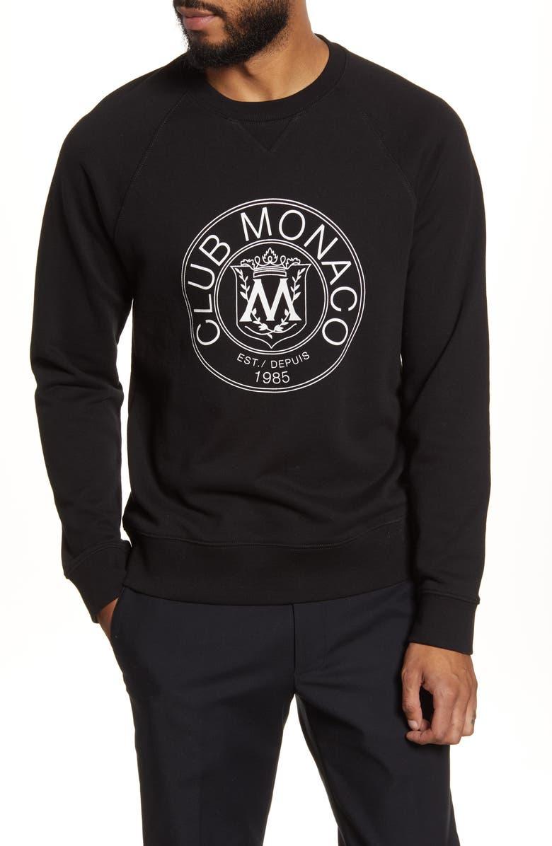 CLUB MONACO Crest Sweatshirt, Main, color, BLACK
