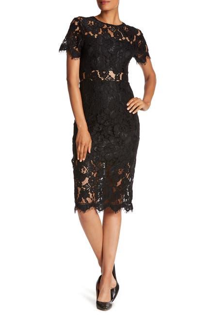 Image of NSR Lace Short Sleeve Sheath Midi Dress