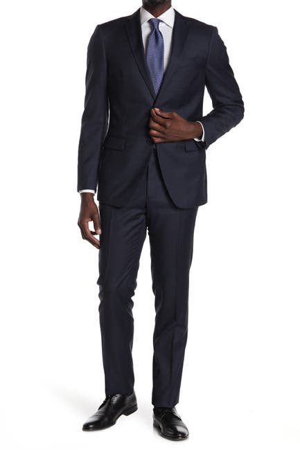 Image of John Varvatos Collection Navy Pinstripe Two Button Notch Lapel Wool Suit