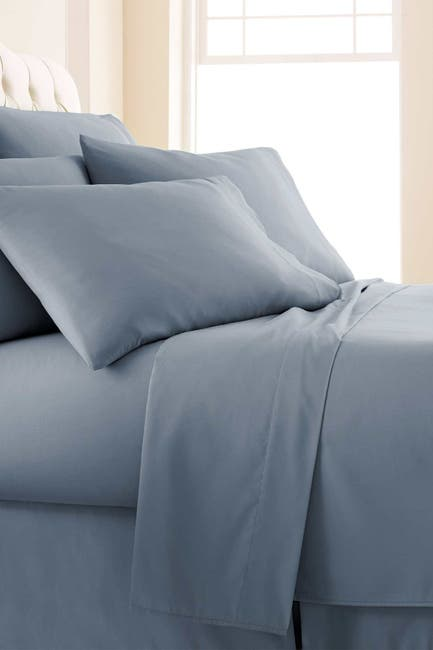 Image of SOUTHSHORE FINE LINENS Queen Sized Southshore Essentials Double Brushed 100 GSM Sheet Set - Steel Blue