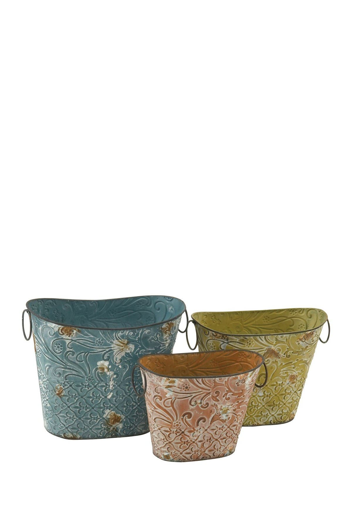 Image of Willow Row Brown Farmhouse Oval Basket Planter - Set of 3