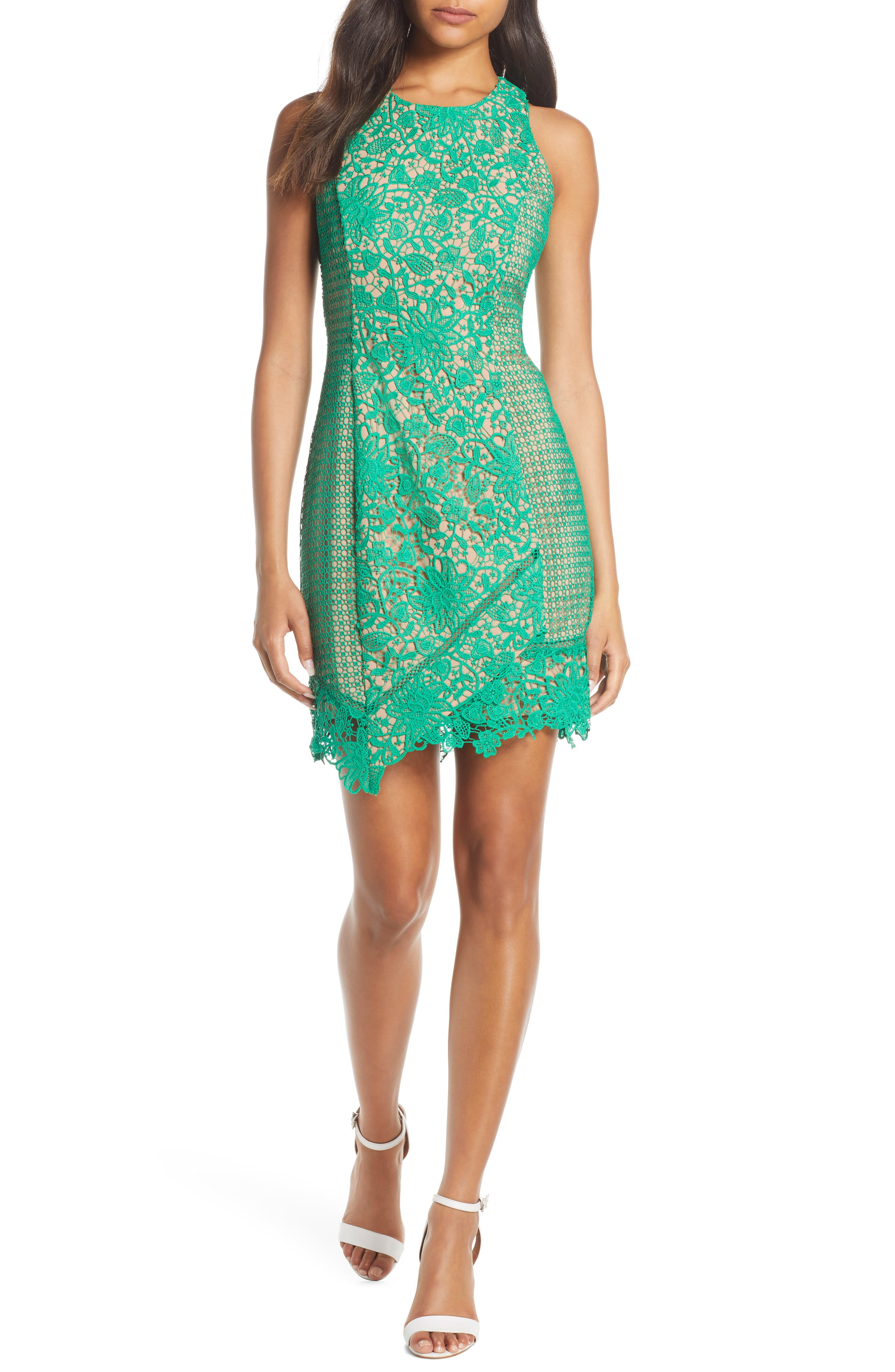 Adelyn Rae Alessia Lace Cocktail Sheath Dress, Green
