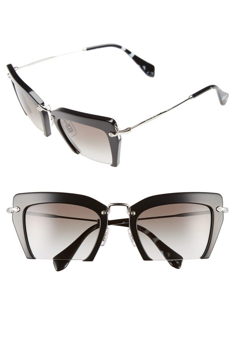 MIU MIU 'Noir' 54mm Cat Eye Sunglasses, Main, color, 001