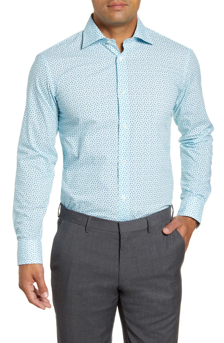 BUGATCHI Trim Fit Pattern Dress Shirt, Main, color, TURQUOISE