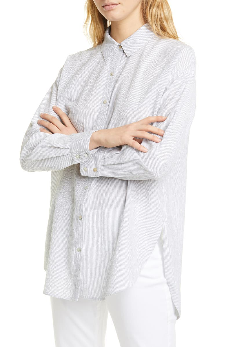 EILEEN FISHER Stripe Tencel<sup>®</sup> Lyocell & Organic Cotton Shirt, Main, color, WHITE